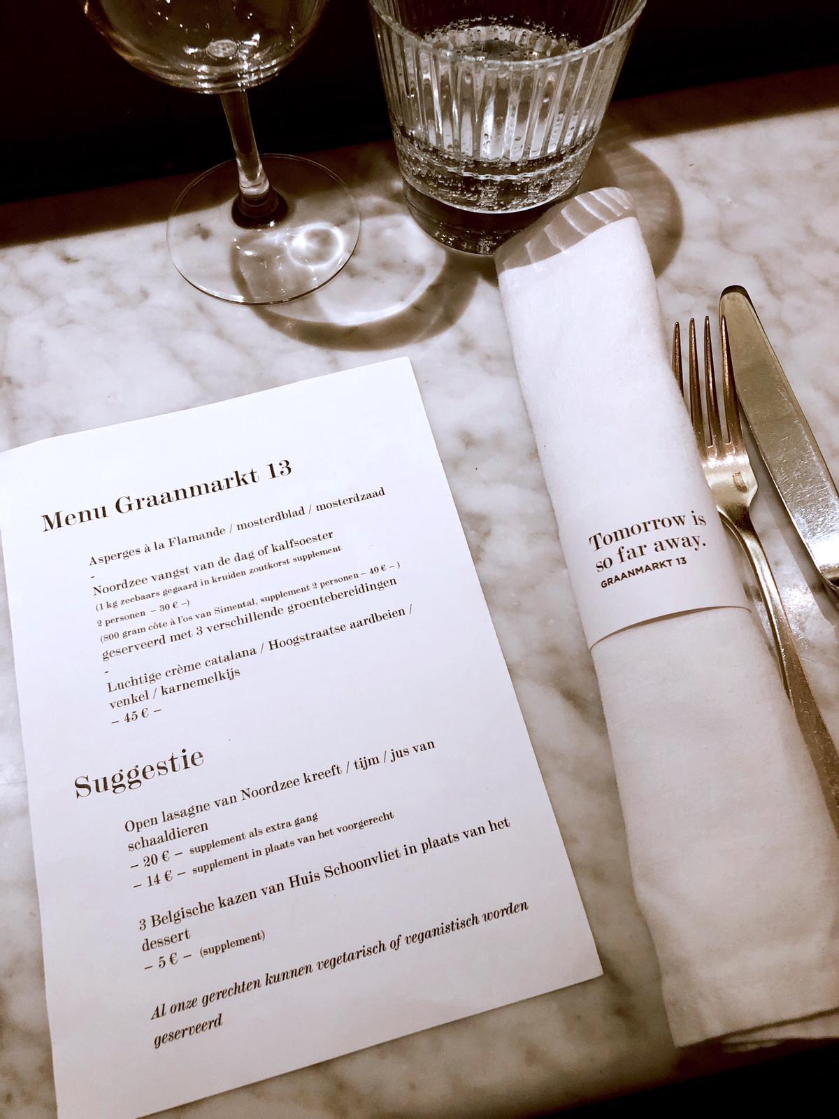 menu Graanmarkt 13